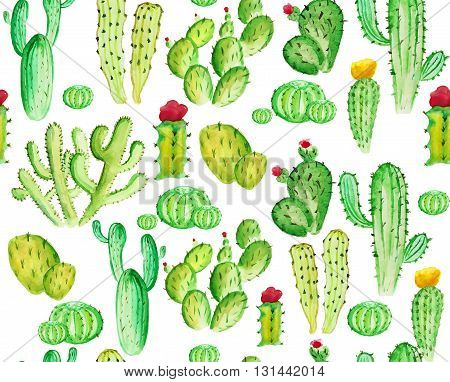 watelcolor cactus seamless pattern on the white phone