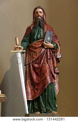 STITAR, CROATIA - AUGUST 27: Saint Paul statue on the main altar in the church of Saint Matthew in Stitar, Croatia on August 27, 2015