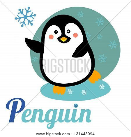 Cute animal alphabet for ABC book. Vector illustration of cartoon penguin. P letter for the Penguin