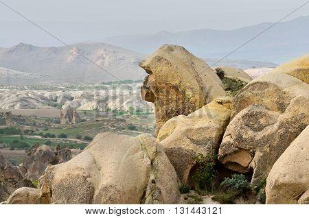 Wonderful Mountain Landscape  In Cappadocia, Turkey