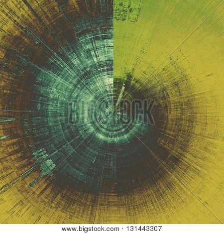 Spherical colorful grunge texture or background with vintage style elements and different color patterns: yellow (beige); brown; blue; black; cyan