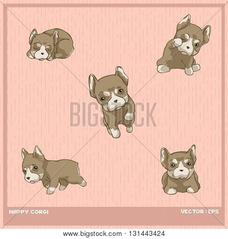 Vector illustration cute French bulldog puppy cartoon