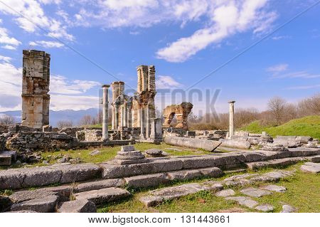 KRINIDES GREECE - FEBRUARY 25 2010: Ruins of a Christian church dating from 550 AD known as Basilica B Direkler or the Pillars Basilica with three aisles and a square nave covered by a dome