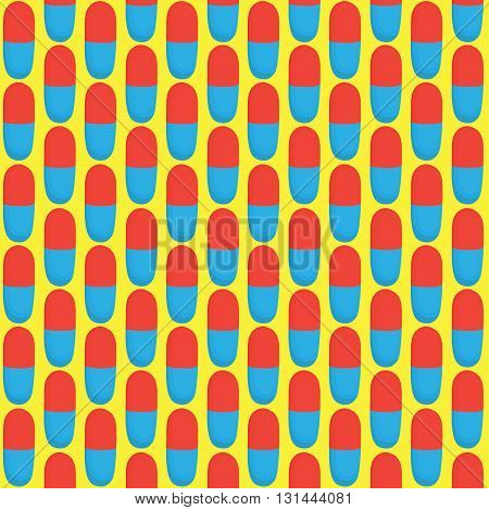 Red and blue pills vector seamless pattern