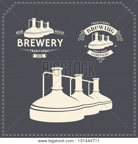 Set with beer brewery elements, icons, logos, design elements. Brewing process, production beer, beer production elements, traditional beer crafting. Vector