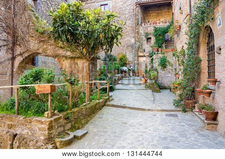 Lovely colorful streets small town in Tuscany, Italy