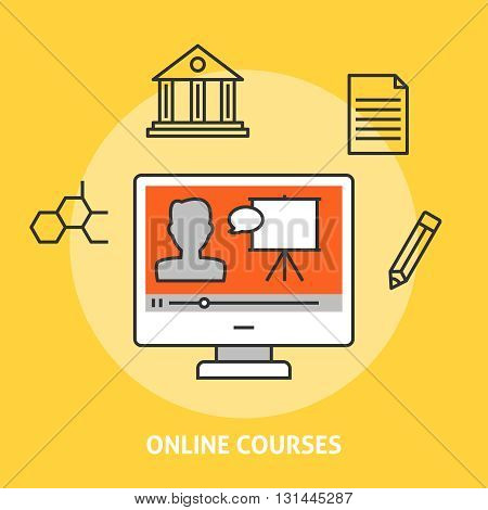 Online courses concept. Online education and e-learning illustration
