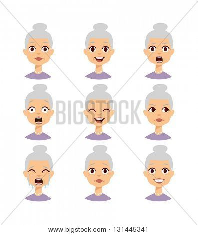 Grandmother emotions face vector