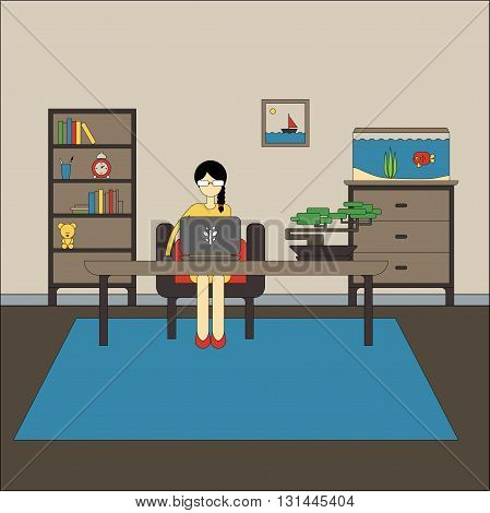 Flat design of workspace with woman is wearing glasses working on laptop computer. Vector illustration of modern home office interior with rack, aquarium, chest of drawers, armchair, bonsai, picture.