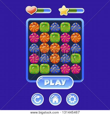 User interface for mobile game design with game board and colorful gems. Vector illustration