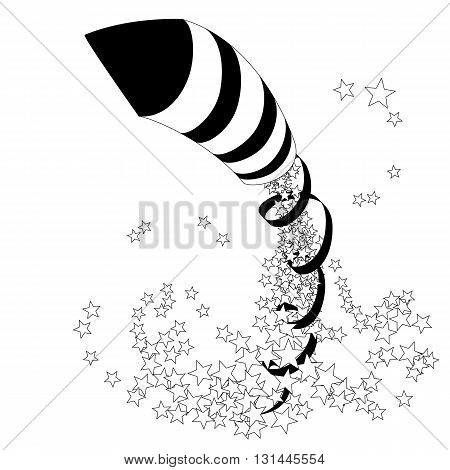 Flying firework rocket with a ribbon and stars. Vector illustration