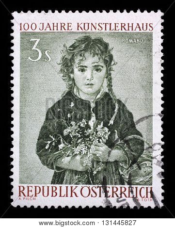 ZAGREB, CROATIA - SEPTEMBER 09: a stamp printed in the Austria shows Girl, Painting by Anton Romako, circa 1961, on September 09, 2014, Zagreb, Croatia