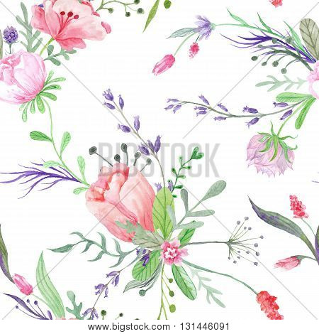 Seamless hand-painted floral texture with shabby chic bouquets on white background for paper and textile design