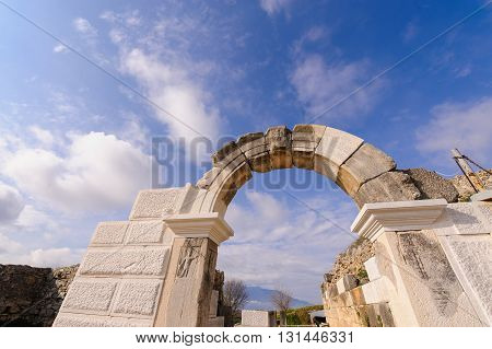 KRINIDES GREECE - FEBRUARY 25 2010: Partial restoration of the Parodos or Aditus Maximus entrance to the Philippi theater