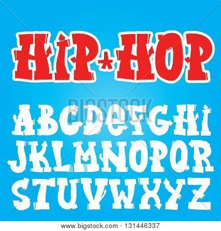 Old school hip-hop graffiti vector font set