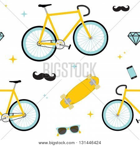 Hipster objects seamless white vector colorful pattern