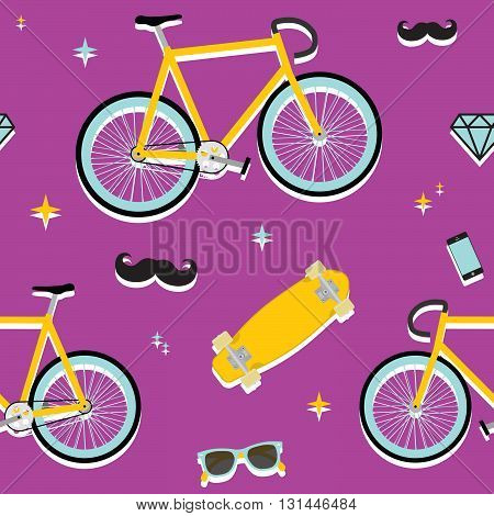 Hipster objects seamless purple vector colorful pattern