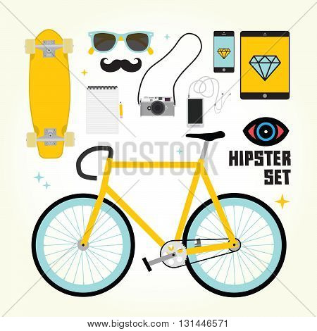 Hipster mast have vector colorful objects set