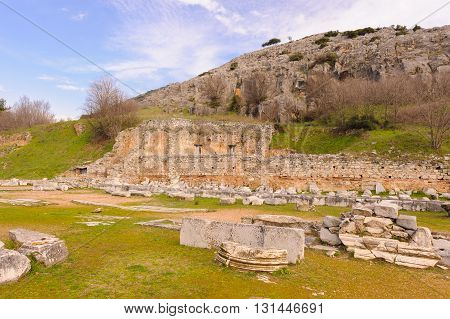 KRINIDES GREECE - FEBRUARY 25 2010: Site of the Basilica A a large three-aisled church built towards the end of the 5th century at Philippi