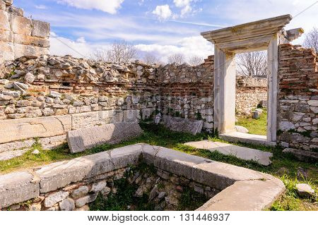 KRINIDES GREECE - FEBRUARY 25 2010: The baptistery and portal adjacent to Basilica B church at Philippi