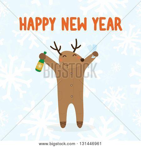 Happy new year deer vector postcard illustration