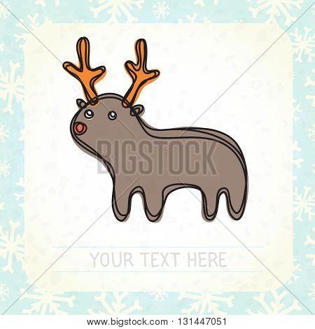 Cute cartoon deer vector illustration postcard illustration