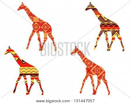 Giraffe Pattern. Giraffe In Ethnic Style. Set Of Giraffes. Vector.