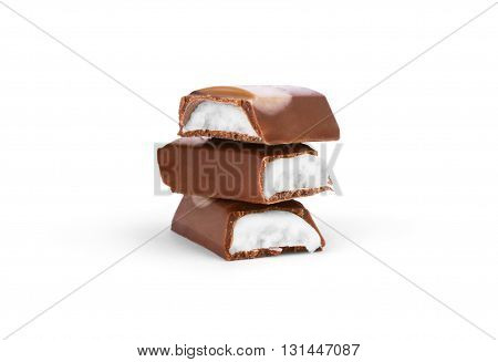 chocolate bar with white cream on a white background