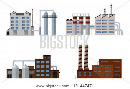 Factory set isolated on white background. Factory icon in the flat style. Industrial factory building. Factory concept. Manufacturing power factory building. Decorative factory icon. Vector illustration.