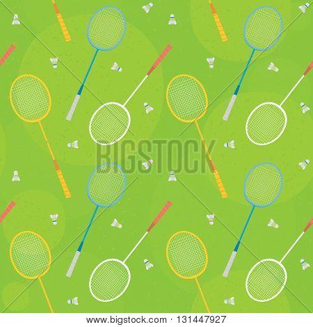 Retro badminton rackets green seamless vector pattern