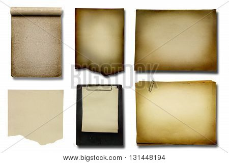 Old paper collections on white color backgrond