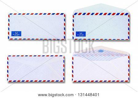 White vintage envelope on white coolor background