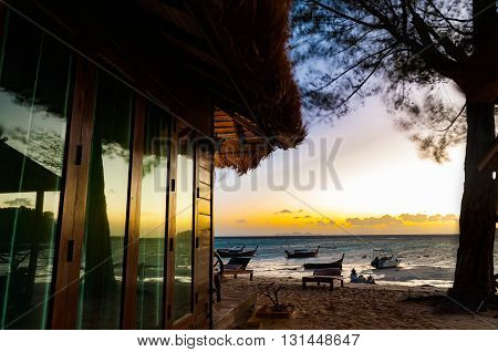 Beach house in early moning before sunrise with long exposure