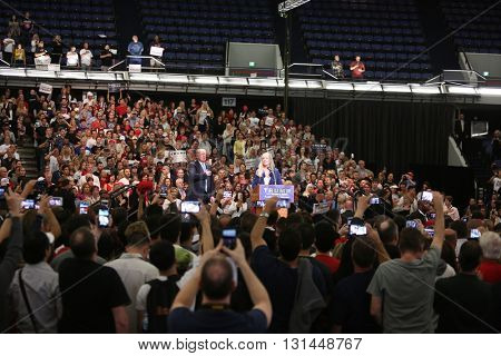ANAHEIM CALIFORNIA, May 25, 2016:  Sherry Wilkins sings the national anthem at the Donald J. Trump Presidential Rally in Anaheim California  to Thousands of Supporters. Anaheim CA 5.25.2016