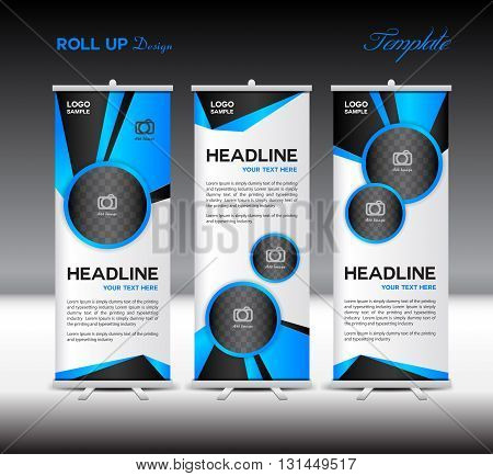 Blue Roll Up Banner template vector illustration designs