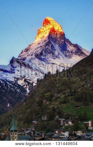 Sunlight Shine On Matterhorn Mountain In Early Morning