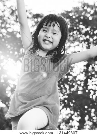 Girl Childhood Smiling Playful Happiness Concept