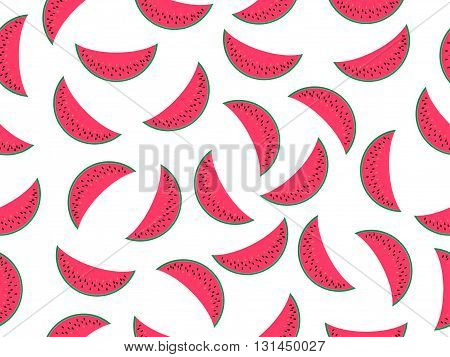 Watermelon Seamless Pattern, Watermelon Slice. Vector Illustration.