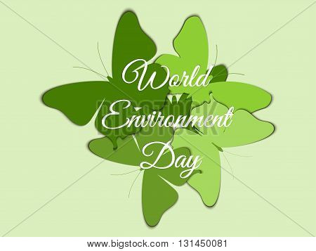 World Environment Day Butterflies on the background of beautiful lettering with shadow environment day environment go green. Vector.