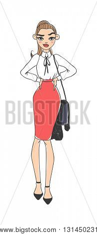 Business lady vector illustration.