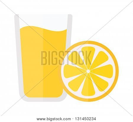 Glass of orange juice fresh drink vector