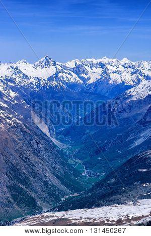 Zermatt Village Among Alps In Aerial View