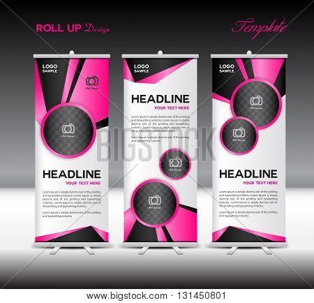 Pink Roll Up Banner template vector illustration banner design