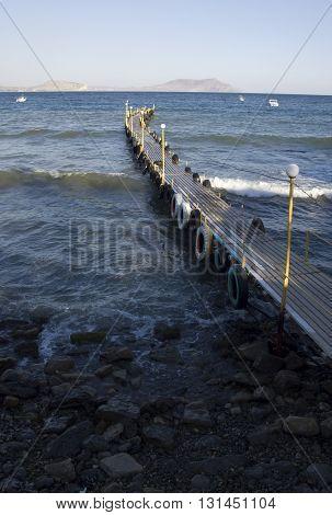 Mooring in the bay of Novyj Svit reserve in Crimea