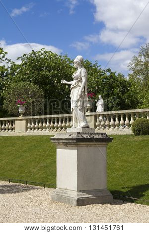 PARIS FRANCE - MAY 11 2013: This is one of statues adorning the alleys of the Luxembourg Garden.