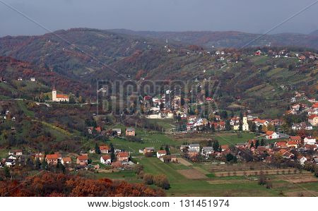 VUGROVEC, CROATIA - NOVEMBER 07: Village Vugrovec in the picturesque hilly region of north western Croatia on November 07, 2007