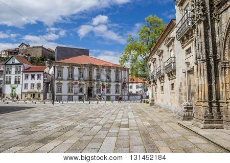 LAMEGO, PORTUGAL - APRIL 22, 2016: Ribeiro Conceicao Theatre at the central square in Lamego, Portugal