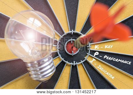 KPI key performance indicator with idea bulb lamp and dart successful on bullseye Smart goals concept for success business