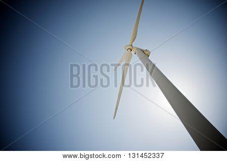 Windmill for electric power production at sunset, Pozuelo de Aragon, Zaragoza, Aragon, Spain