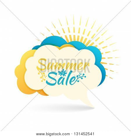 Banner, logo, sticker, bubble with Summer sale. Bubble with Summer offer. Summer decoration with sunbeam. Talk bubble summer banner blue and yellow color. Vector illustration